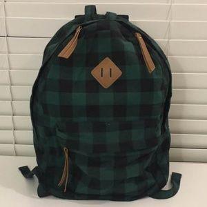 Forever21 Green/black checkered Backpack Bag